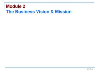 Module 2 The Business Vision  Mission