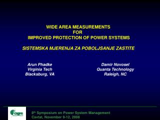 8 th  Symposium on Power System Management Cavtat, November 9-12, 2008