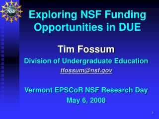 Exploring NSF Funding Opportunities in DUE