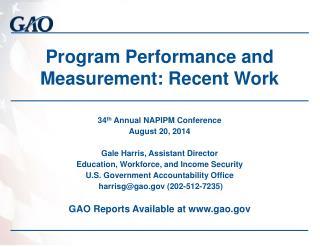 Program Performance and Measurement: Recent Work