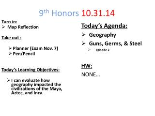 9 th  Honors  10.31.14