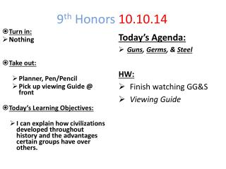 9 th  Honors  10.10.14