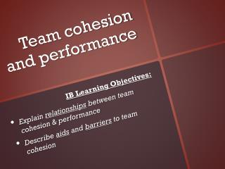 Team cohesion and performance