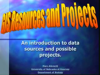An introduction to data sources and possible projects. Marc Albrecht