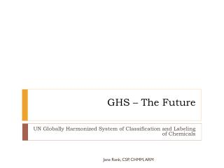 GHS – The Future