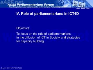 IV. Role of parliamentarians in ICT4D