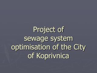 Project of sewage system optimisation of the City of Koprivnica