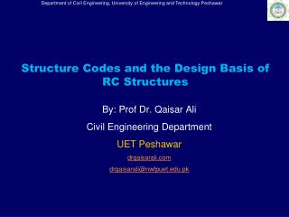 Structure Codes and the Design Basis of RC Structures