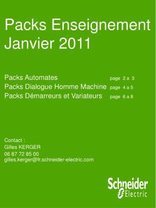 Packs  Enseignement    Janvier 2011