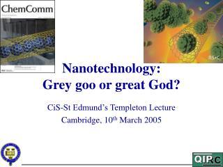 Nanotechnology: Grey goo or great God?