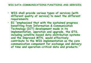 WIS DATA-COMMUNICATIONS FUNCTIONS AND SERVICES