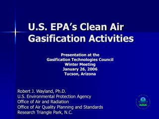 U.S. EPA's Clean Air Gasification Activities