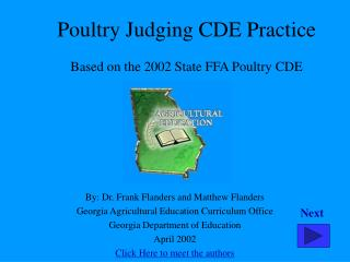 Poultry Judging CDE Practice Based on the 2002 State FFA Poultry CDE
