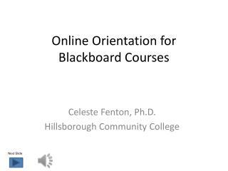 Online Orientation for Blackboard Courses