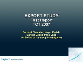 EXPORT STUDY First Report  TCT 2007