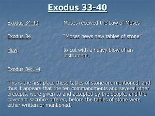 Exodus 33-40