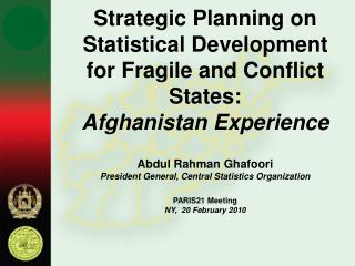 Strategic Planning on Statistical Development for Fragile and Conflict States: