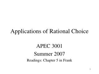 Applications of Rational Choice
