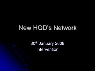 New HOD's Network