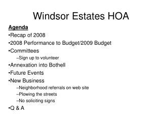 Windsor Estates HOA