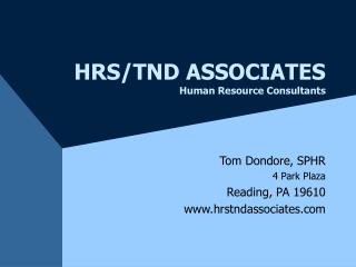 HRS/TND ASSOCIATES Human Resource Consultants