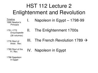 HST 112 Lecture 2 Enlightenment and Revolution
