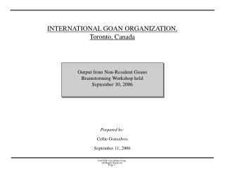 INTERNATIONAL GOAN ORGANIZATION,  Toronto, Canada
