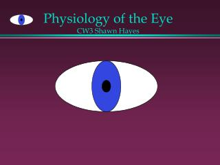 Physiology of the Eye CW3 Shawn Hayes