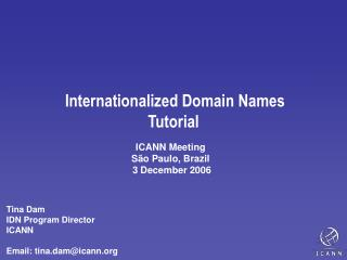 Internationalized Domain Names  Tutorial