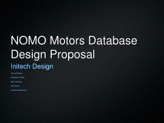 NOMO Motors Database Design Proposal