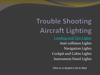 Trouble Shooting  Aircraft Lighting