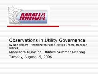 Observations in Utility Governance By Don Habicht ...