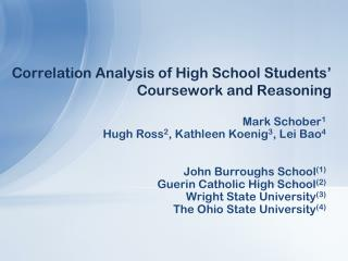 Correlation Analysis of High School Students' Coursework and Reasoning