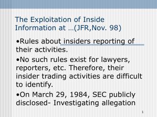 The Exploitation of Inside Information at …(JFR,Nov. 98)