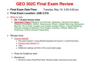 GEO 302C Final Exam Review