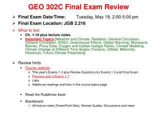 GEO 302C Final Exam Review