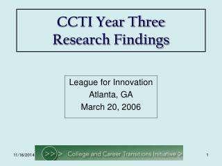 CCTI Year Three Research Findings