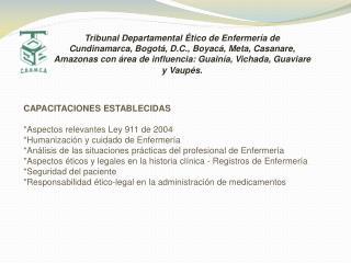 CAPACITACIONES ESTABLECIDAS *Aspectos relevantes Ley 911 de 2004