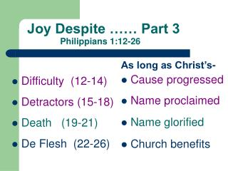 Joy  Despite …… Part 3 Philippians 1:12-26
