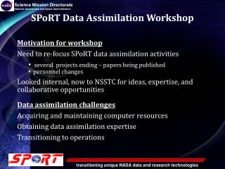 SPoRT Data Assimilation Workshop