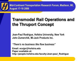 Transmodal Rail Operations and the Thruport Concept