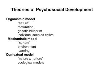Theories of Psychosocial Development
