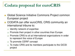 Codata proposal for euroCRIS