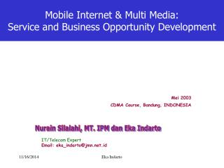 Mobile Internet & Multi Media:  Service and Business Opportunity Development