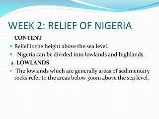 WEEK 2: RELIEF OF NIGERIA