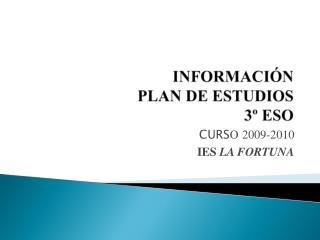 INFORMACI N PLAN DE ESTUDIOS  3  ESO