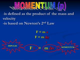 is defined as the product of the mass and velocity -is based on Newton's 2 nd  Law