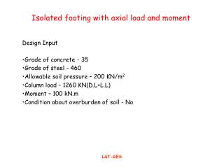 Isolated footing with axial load and moment