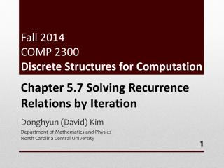 Fall 2014 COMP 2300  Discrete Structures for Computation