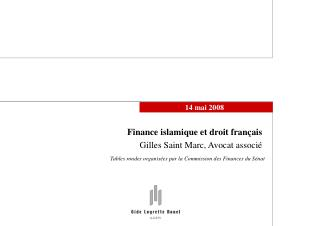 Finance islamique et droit fran ais Gilles Saint Marc, Avocat associ